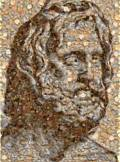 Poseidon head made from seashells.